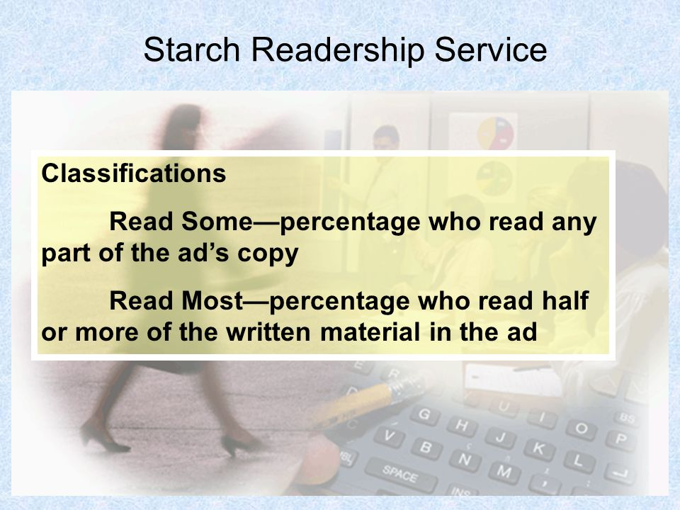 18 Starch Readership Service Classifications Read Somepercentage who read any part of the ads copy Read Mostpercentage who read half or more of the wr