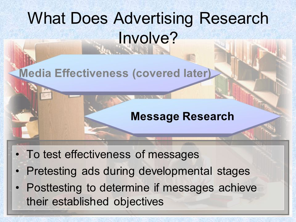 4 What Does Advertising Research Involve? To test effectiveness of messages Pretesting ads during developmental stages Posttesting to determine if mes