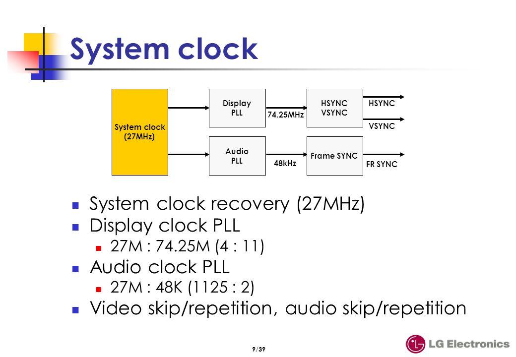 9/39 System clock System clock recovery (27MHz) Display clock PLL 27M : 74.25M (4 : 11) Audio clock PLL 27M : 48K (1125 : 2) Video skip/repetition, au