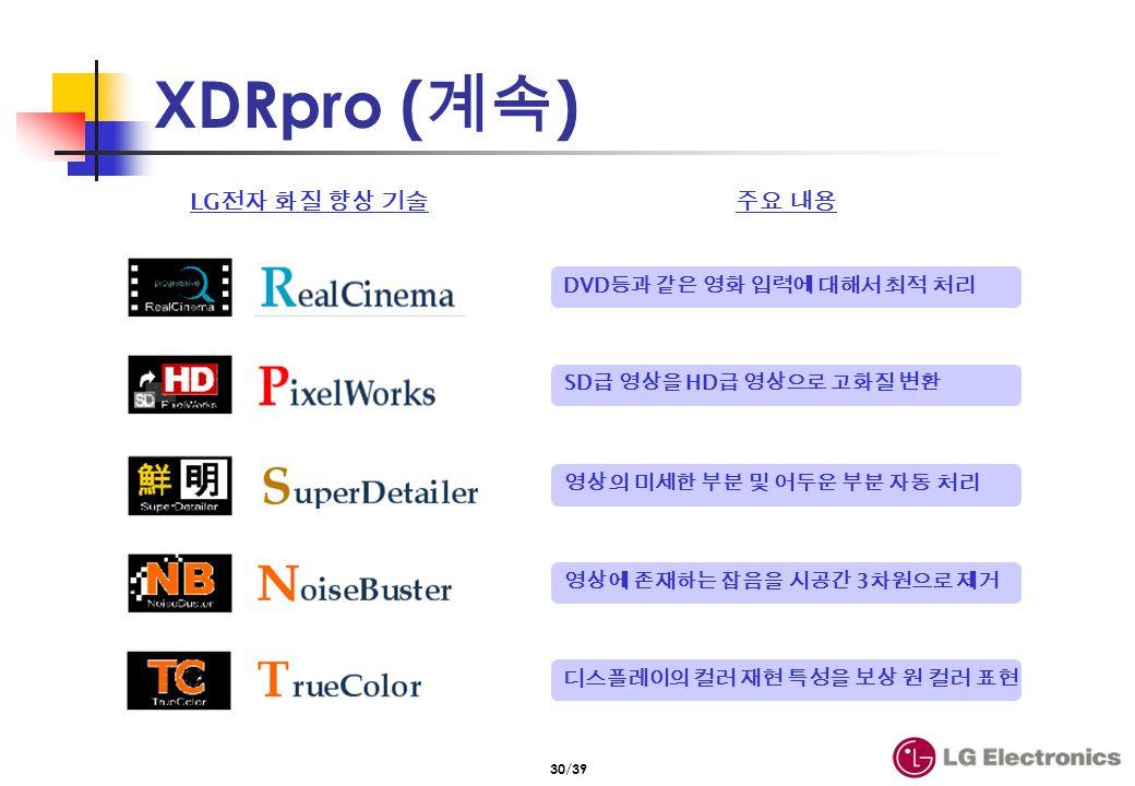 30/39 XDRpro ( ) LG DVD 3 SD HD