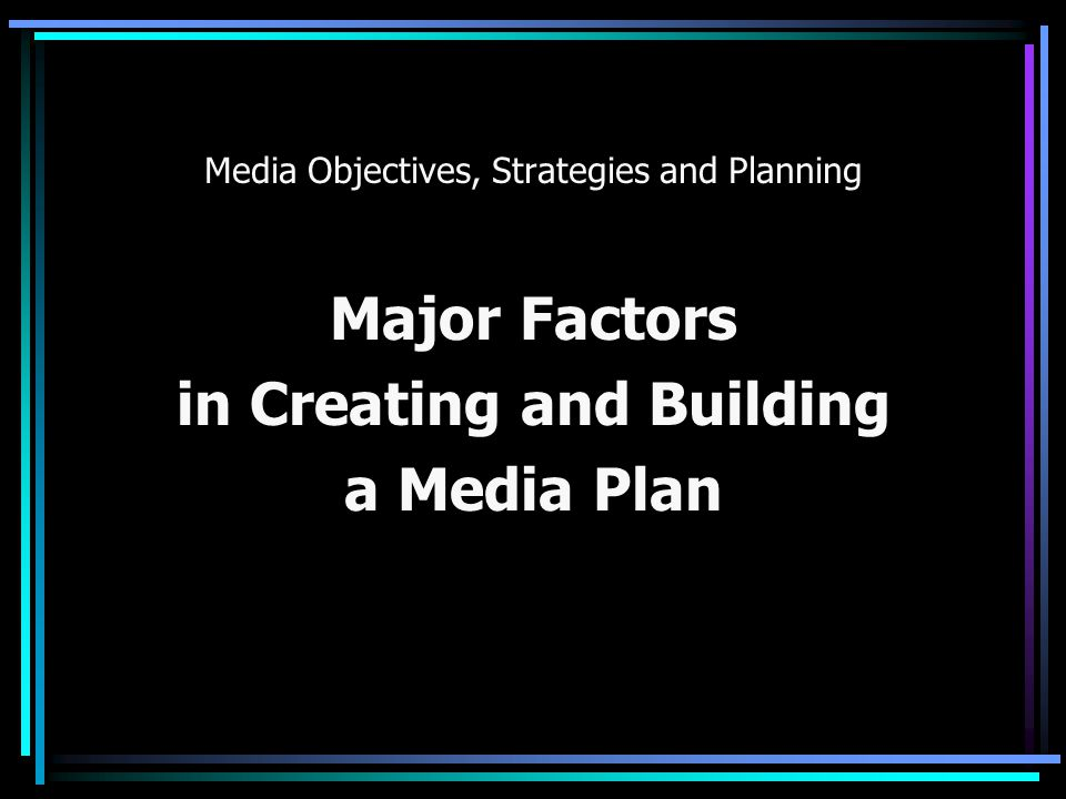 Media Objectives, Strategies and Planning 10.