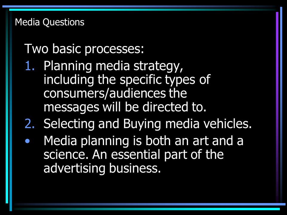 Media Objectives, Strategies and Planning 11.Cost Efficiencies –Which Media.