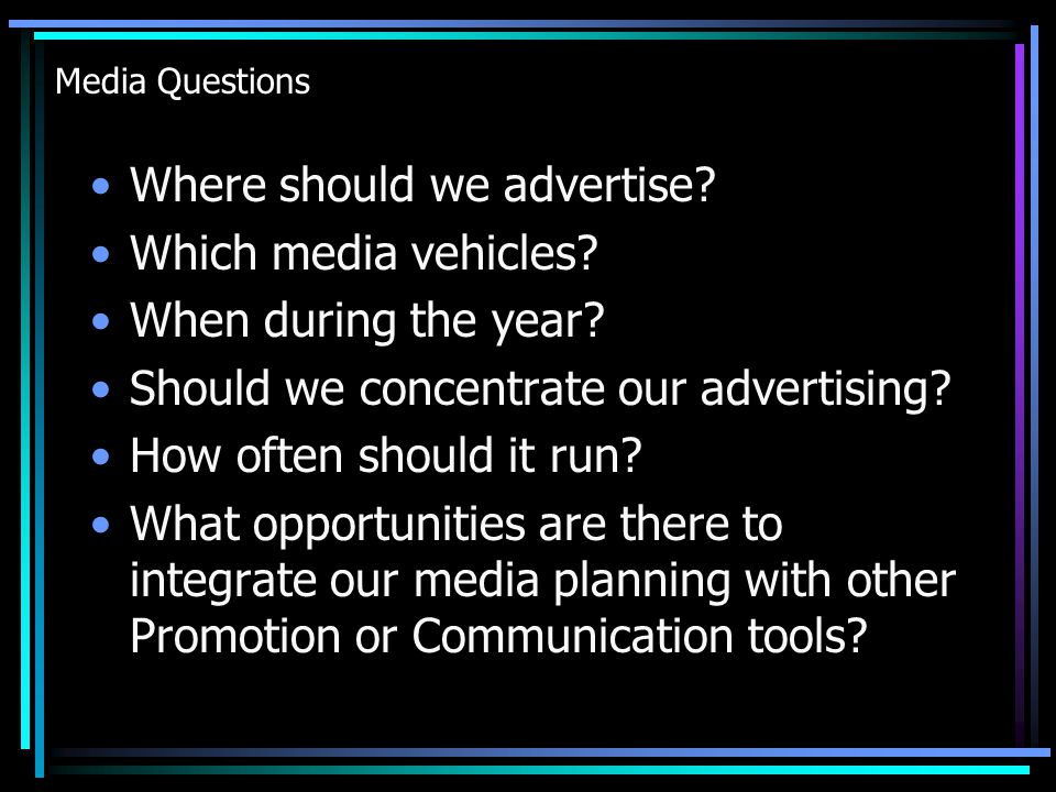 Media Objectives, Strategies and Planning Advertising is an investment in future sales.