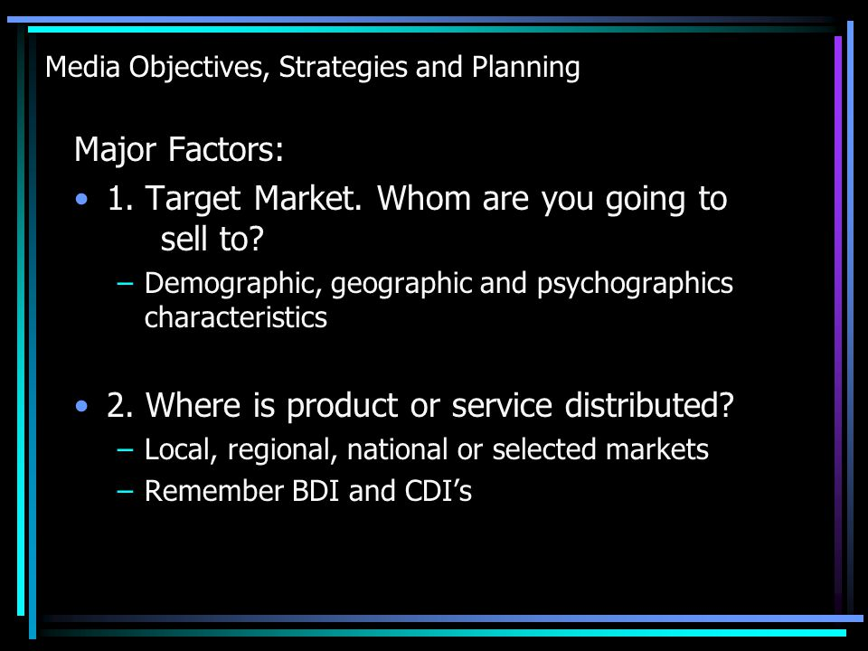Media Objectives, Strategies and Planning 7.