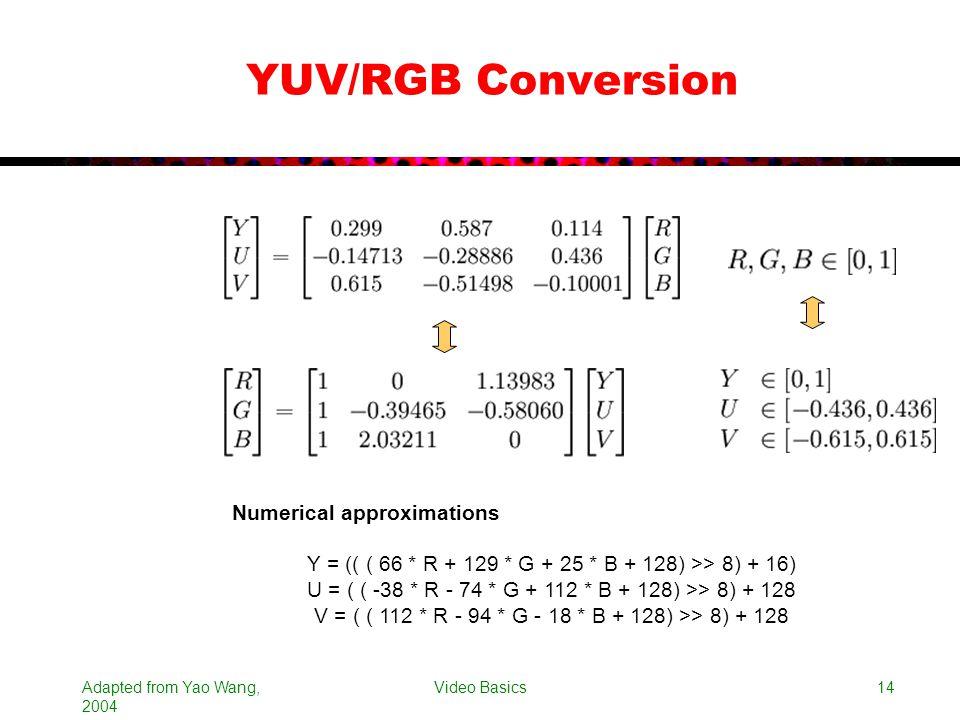 Adapted from Yao Wang, 2004 Video Basics14 YUV/RGB Conversion Y = (( ( 66 * R + 129 * G + 25 * B + 128) >> 8) + 16) U = ( ( -38 * R - 74 * G + 112 * B