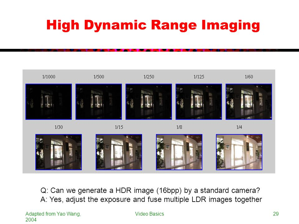 Adapted from Yao Wang, 2004 Video Basics29 High Dynamic Range Imaging Q: Can we generate a HDR image (16bpp) by a standard camera? A: Yes, adjust the