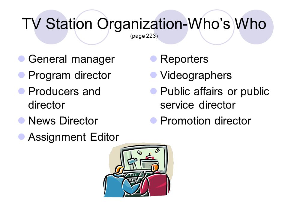 TV Station Organization-Whos Who (page 223) General manager Program director Producers and director News Director Assignment Editor Reporters Videogra
