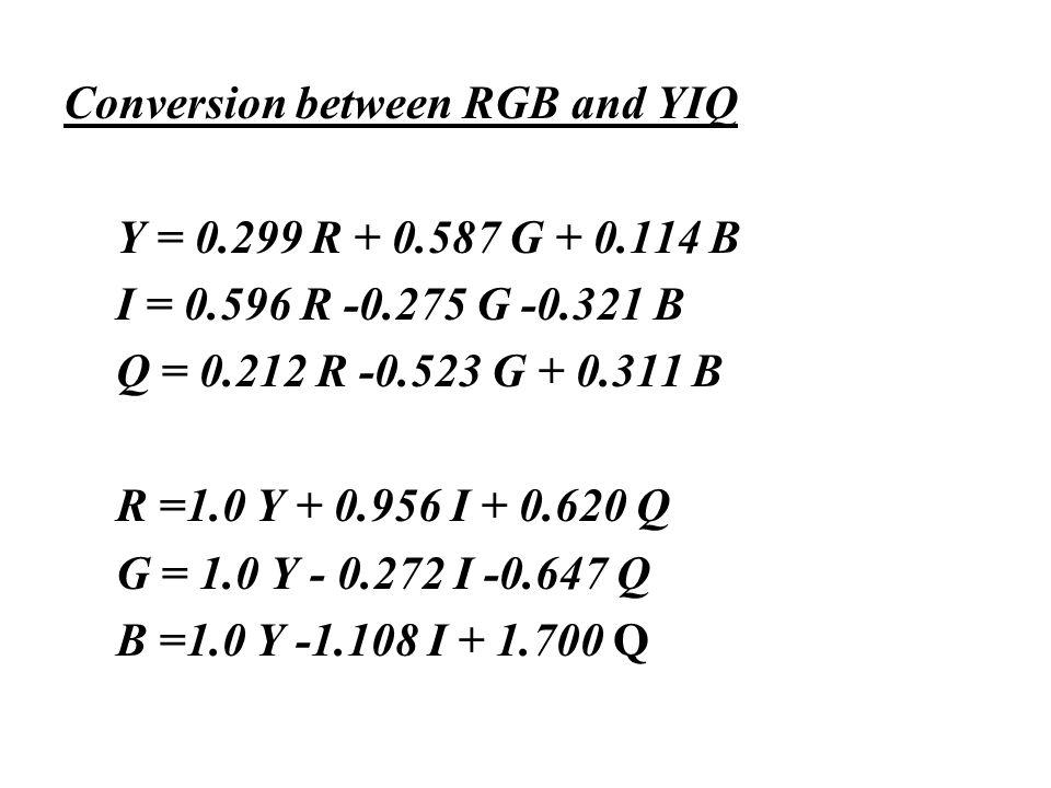 Conversion between RGB and YIQ Y = 0.299 R + 0.587 G + 0.114 B I = 0.596 R -0.275 G -0.321 B Q = 0.212 R -0.523 G + 0.311 B R =1.0 Y + 0.956 I + 0.620 Q G = 1.0 Y - 0.272 I -0.647 Q B =1.0 Y -1.108 I + 1.700 Q