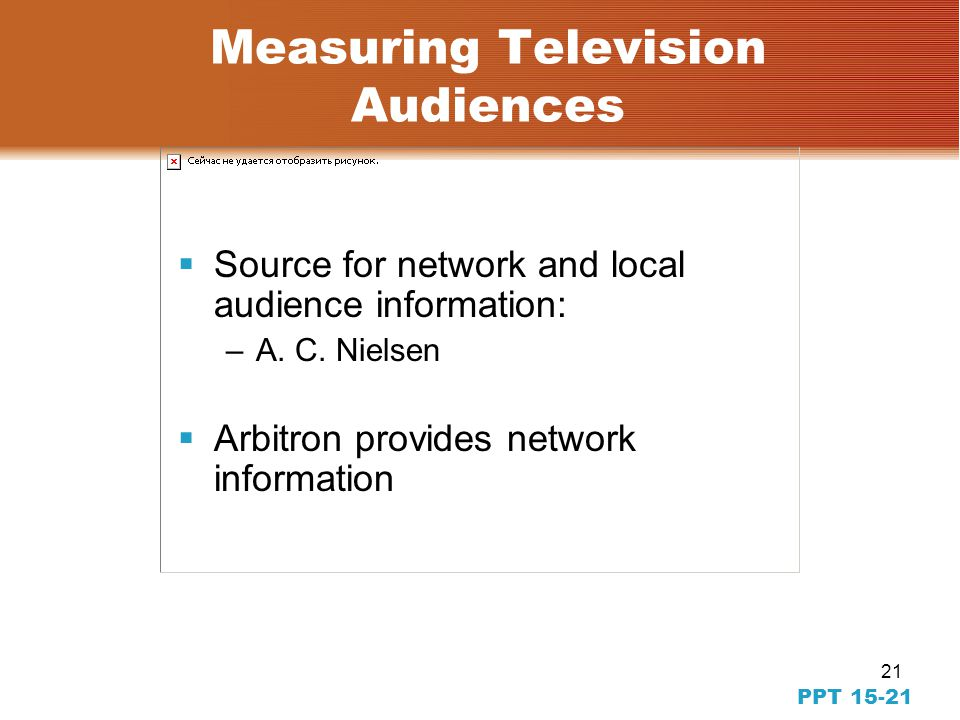 21 PPT 15-21 Measuring Television Audiences Source for network and local audience information: –A.