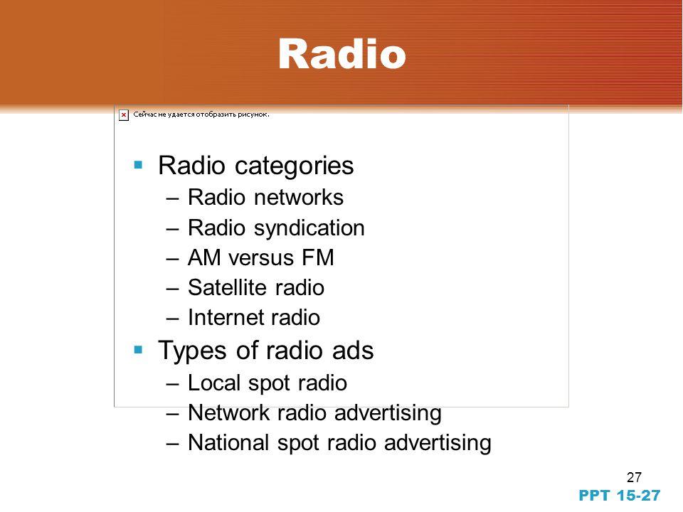 27 PPT 15-27 Radio Radio categories –Radio networks –Radio syndication –AM versus FM –Satellite radio –Internet radio Types of radio ads –Local spot radio –Network radio advertising –National spot radio advertising