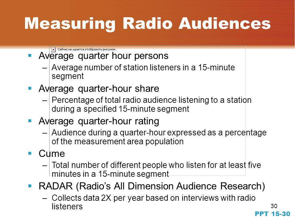 30 PPT 15-30 Measuring Radio Audiences Average quarter hour persons –Average number of station listeners in a 15-minute segment Average quarter-hour share –Percentage of total radio audience listening to a station during a specified 15-minute segment Average quarter-hour rating –Audience during a quarter-hour expressed as a percentage of the measurement area population Cume –Total number of different people who listen for at least five minutes in a 15-minute segment RADAR (Radios All Dimension Audience Research) –Collects data 2X per year based on interviews with radio listeners