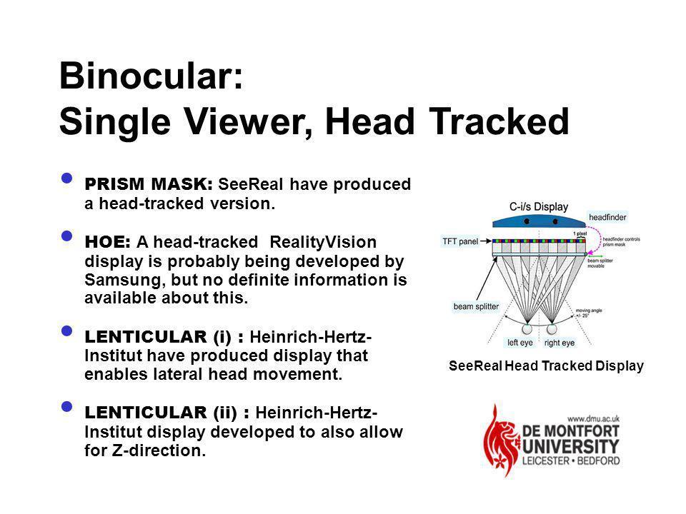 Binocular: Single Viewer, Head Tracked SeeReal Head Tracked Display PRISM MASK: SeeReal have produced a head-tracked version. HOE: A head-tracked Real