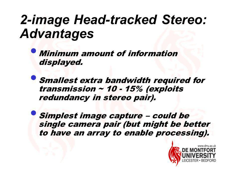 2-image Head-tracked Stereo: Advantages Minimum amount of information displayed. Smallest extra bandwidth required for transmission ~ 10 - 15% (exploi