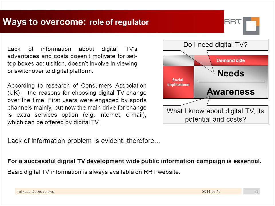 2014.06.10Feliksas Dobrovolskis26 Ways to overcome: role of regulator Lack of information about digital TVs advantages and costs doesnt motivate for s