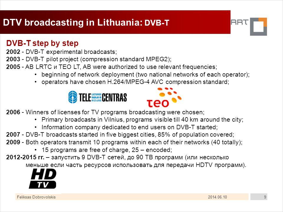 2014.06.10Feliksas Dobrovolskis9 DTV broadcasting in Lithuania: DVB-T DVB-T step by step 2002 - DVB-T experimental broadcasts; 2003 - DVB-T pilot proj