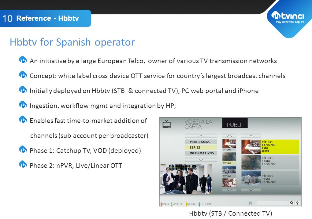 TITLE GOES HERE An initiative by a large European Telco, owner of various TV transmission networks Concept: white label cross device OTT service for countrys largest broadcast channels Initially deployed on Hbbtv (STB & connected TV), PC web portal and iPhone Ingestion, workflow mgmt and integration by HP; Enables fast time-to-market addition of channels (sub account per broadcaster) Phase 1: Catchup TV, VOD (deployed) Phase 2: nPVR, Live/Linear OTT Reference - Hbbtv 10 Hbbtv for Spanish operator Hbbtv (STB / Connected TV)