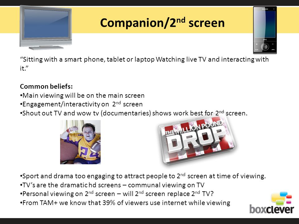 Companion/2 nd screen Sitting with a smart phone, tablet or laptop Watching live TV and interacting with it.