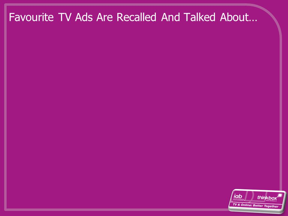 Favourite TV Ads Are Recalled And Talked About…
