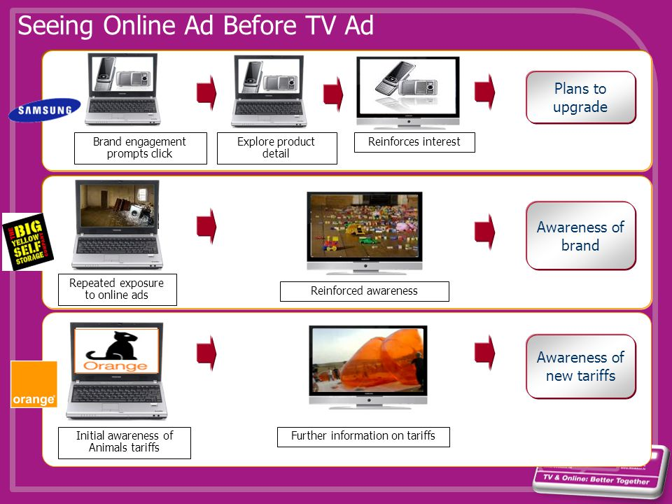 Seeing Online Ad Before TV Ad Initial awareness of Animals tariffs Further information on tariffs Awareness of new tariffs Plans to upgrade Brand enga