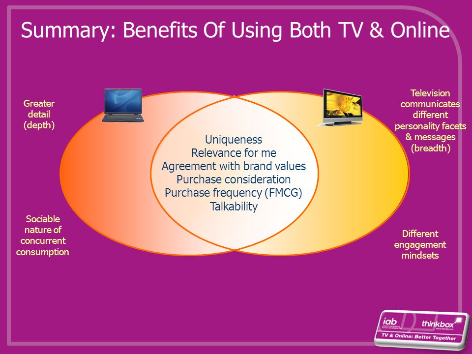 Summary: Benefits Of Using Both TV & Online Uniqueness Relevance for me Agreement with brand values Purchase consideration Purchase frequency (FMCG) T
