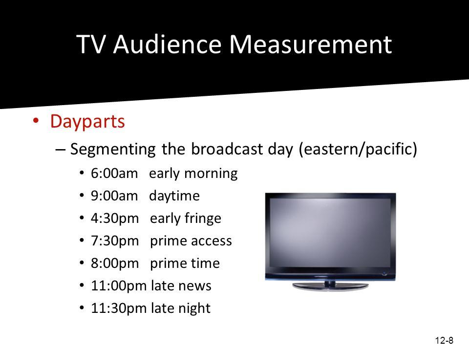 TV Audience Measurement TV Audience Measurements – TV Households – Households Using TV – Program Rating – Audience share – Total audience – Audience composition 12-9