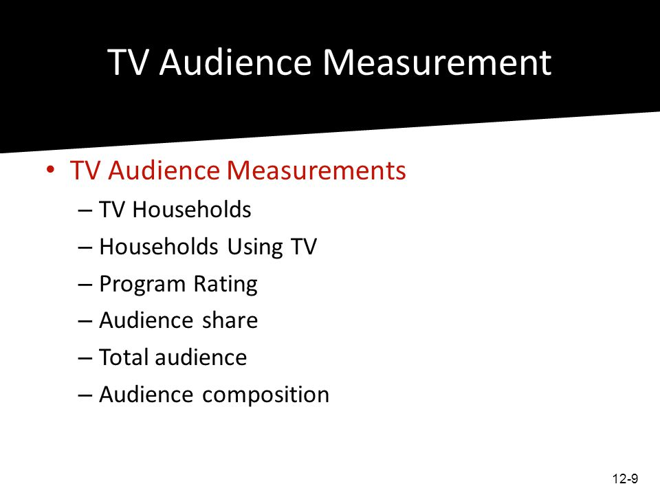 TV Audience Measurement Gross Rating Points total rating points by a media schedule over a period Audience Measurements TV Households Households Using TV Program Rating Audience share Total audience Audience composition 12-10