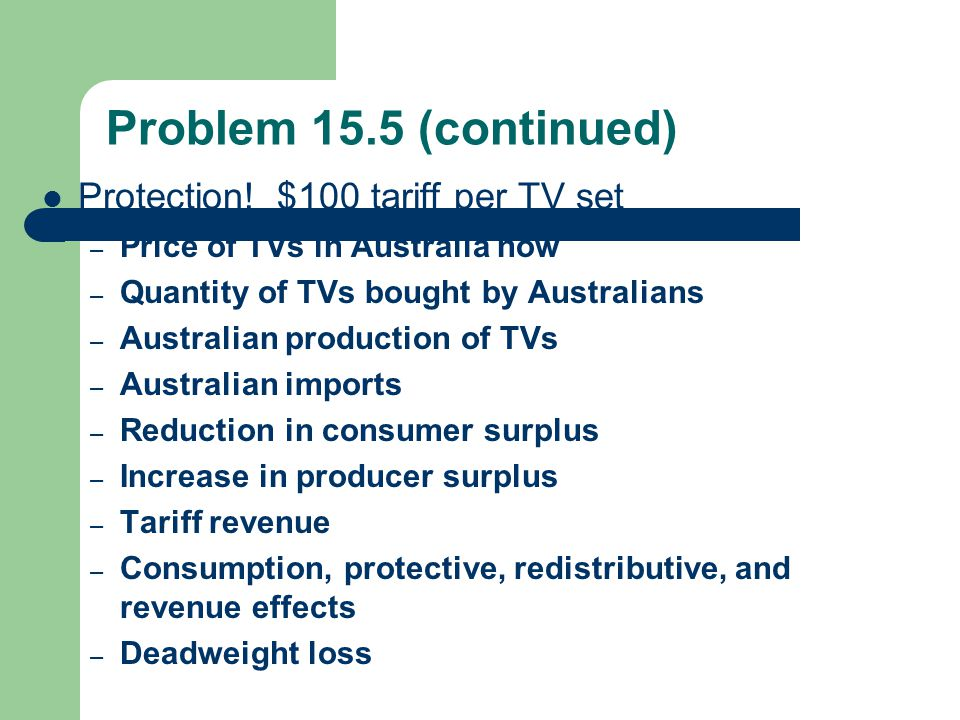 Problem 15.5 (continued) Protection! $100 tariff per TV set – Price of TVs in Australia now – Quantity of TVs bought by Australians – Australian produ