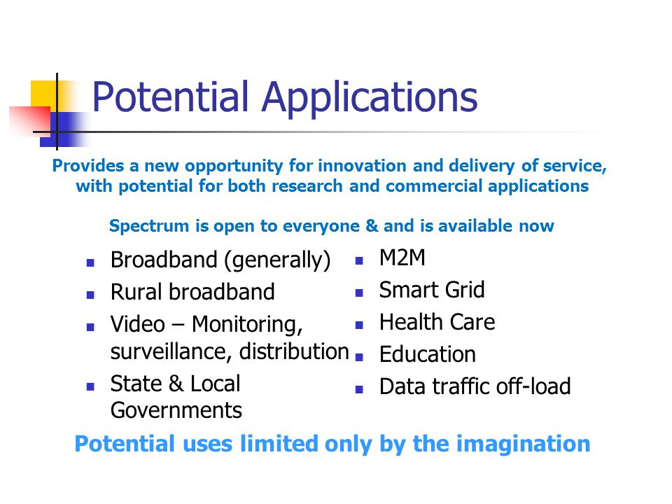 Potential Applications Broadband (generally) Rural broadband Video – Monitoring, surveillance, distribution State & Local Governments M2M Smart Grid H