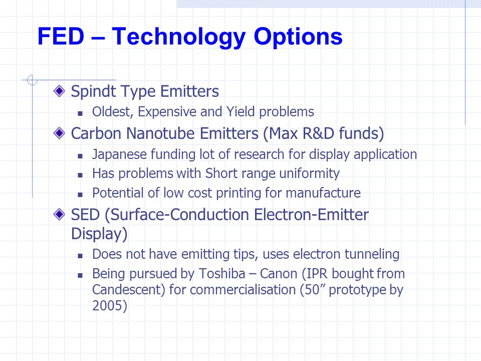FED – Technology Options Spindt Type Emitters Oldest, Expensive and Yield problems Carbon Nanotube Emitters (Max R&D funds) Japanese funding lot of re