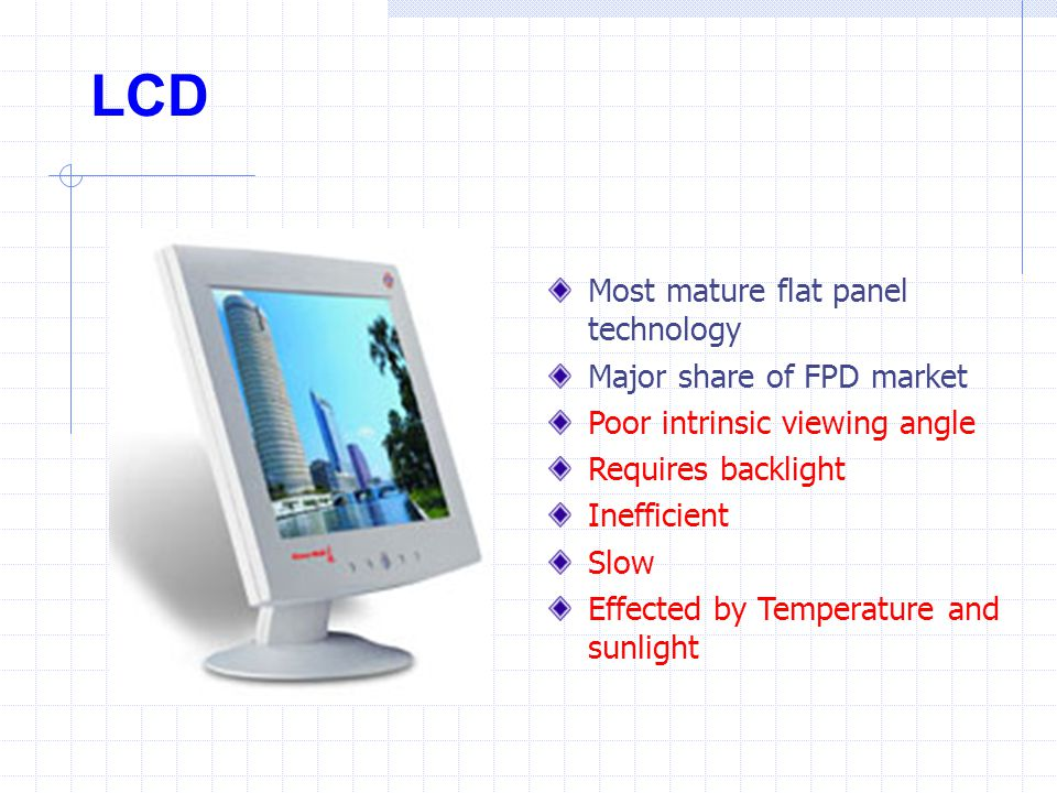 LCD Most mature flat panel technology Major share of FPD market Poor intrinsic viewing angle Requires backlight Inefficient Slow Effected by Temperatu