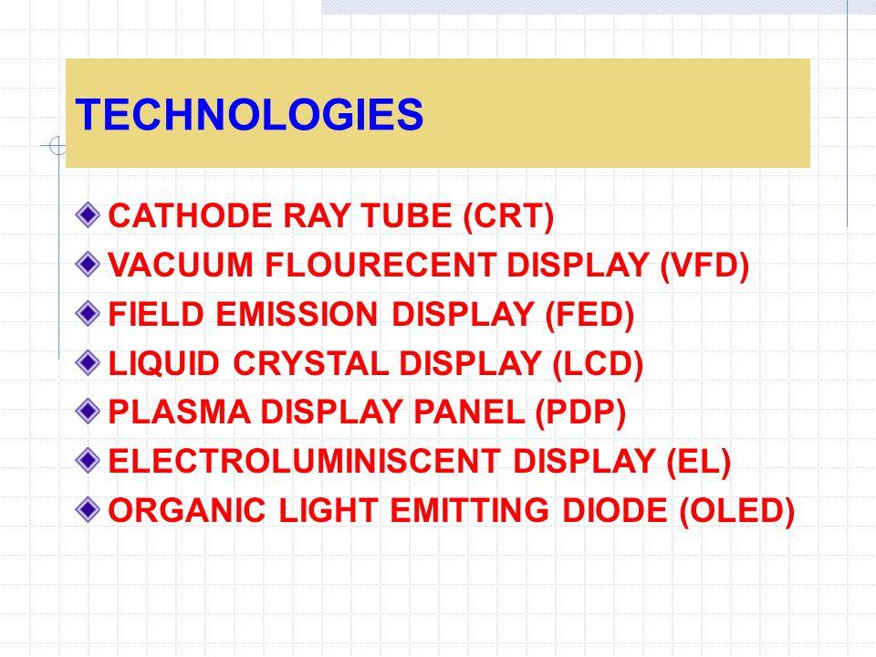 TECHNOLOGIES CATHODE RAY TUBE (CRT) VACUUM FLOURECENT DISPLAY (VFD) FIELD EMISSION DISPLAY (FED) LIQUID CRYSTAL DISPLAY (LCD) PLASMA DISPLAY PANEL (PDP) ELECTROLUMINISCENT DISPLAY (EL) ORGANIC LIGHT EMITTING DIODE (OLED)