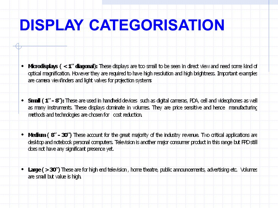DISPLAY CATEGORISATION