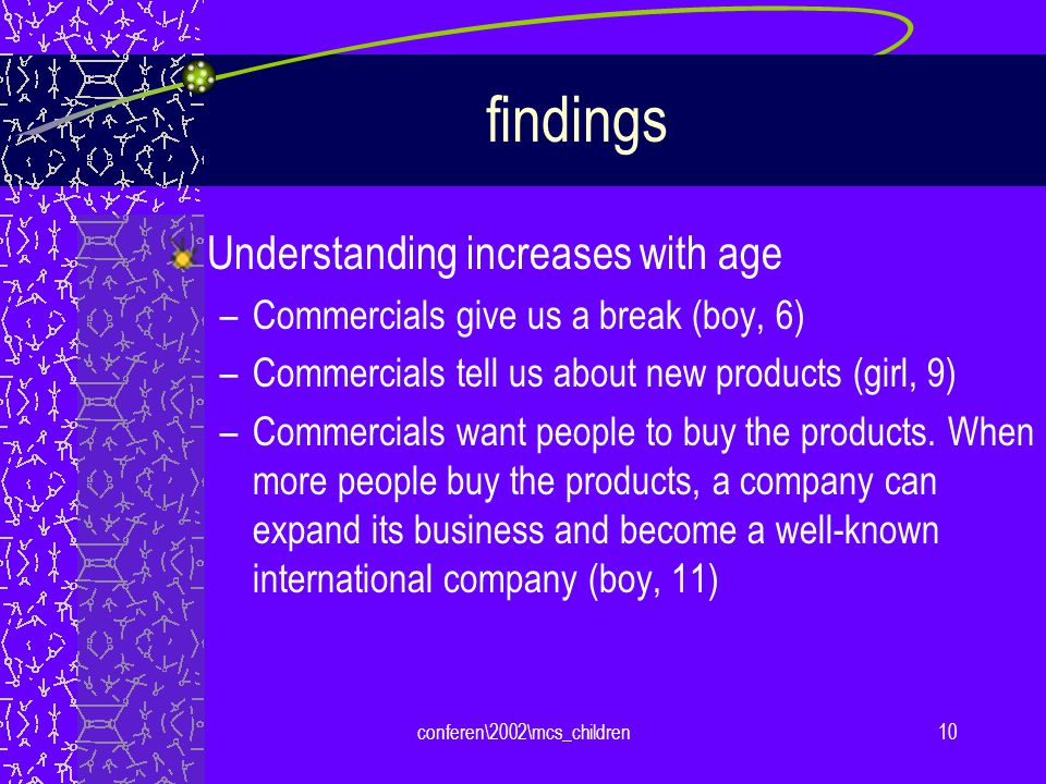 conferen\2002\mcs_children10 findings Understanding increases with age –Commercials give us a break (boy, 6) –Commercials tell us about new products (girl, 9) –Commercials want people to buy the products.