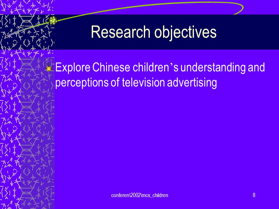 conferen\2002\mcs_children9 Research method Focus group study Three age groups: 6-8, 9-10, 11-12 Conducted at Peking University October 2001