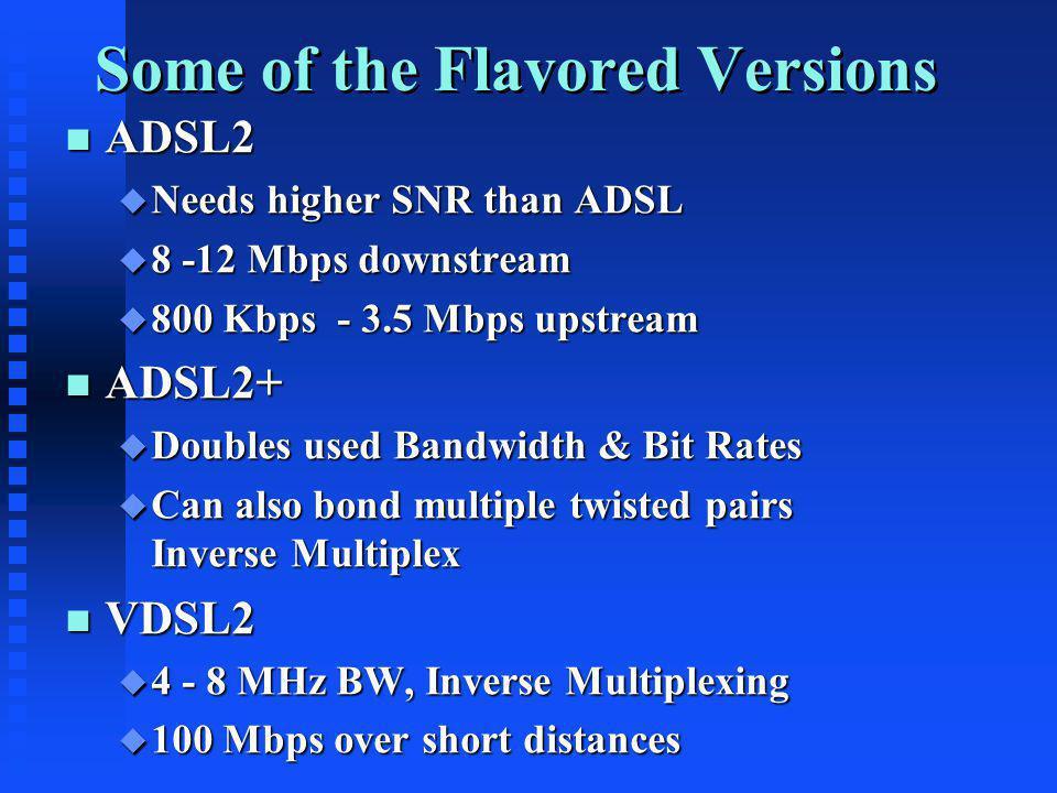 Some of the Flavored Versions n ADSL2 u Needs higher SNR than ADSL u 8 -12 Mbps downstream u 800 Kbps - 3.5 Mbps upstream n ADSL2+ u Doubles used Band