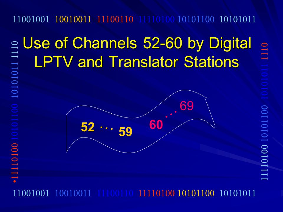 Use of Channels 52-60 by Digital LPTV and Translator Stations 11001001 10010011 11100110 11110100 10101100 10101011 11110100 10101100 10101011 1110 52 … 59 60 … 69
