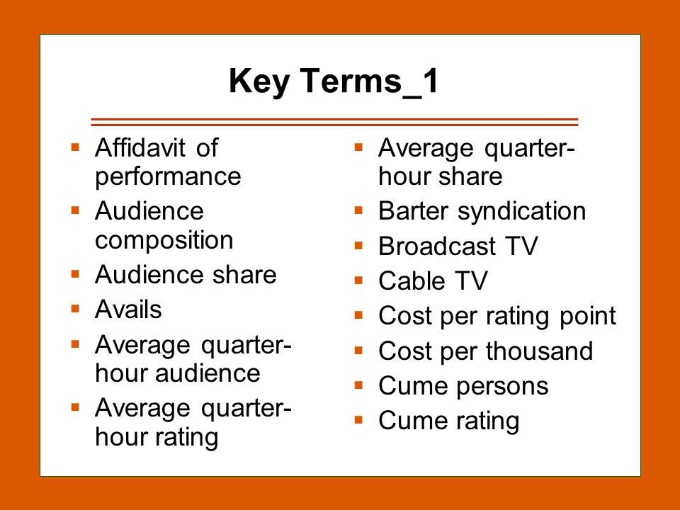 12-32 Key Terms_1 Affidavit of performance Audience composition Audience share Avails Average quarter- hour audience Average quarter- hour rating Average quarter- hour share Barter syndication Broadcast TV Cable TV Cost per rating point Cost per thousand Cume persons Cume rating