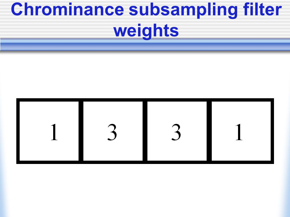 Chrominance subsampling filter weights