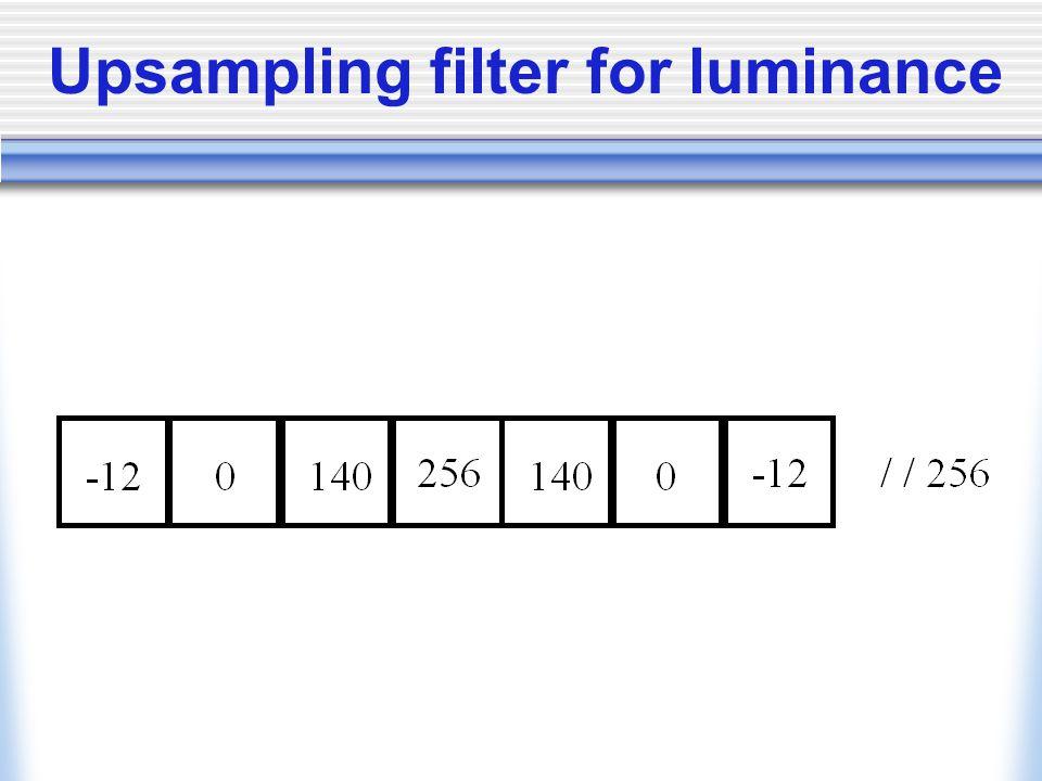 Upsampling filter for luminance