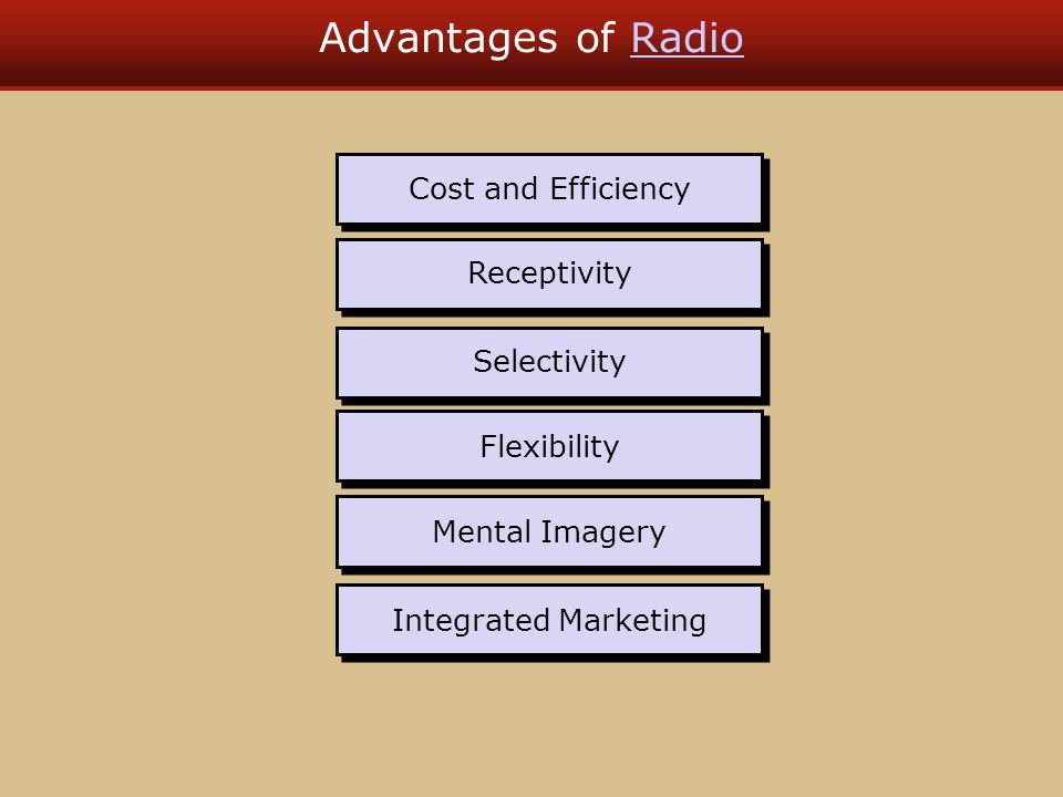 Radio Differs From TV Is more limited communication Costs much less to produce Costs much less to purchase Offers only an audio message Has less status and prestige