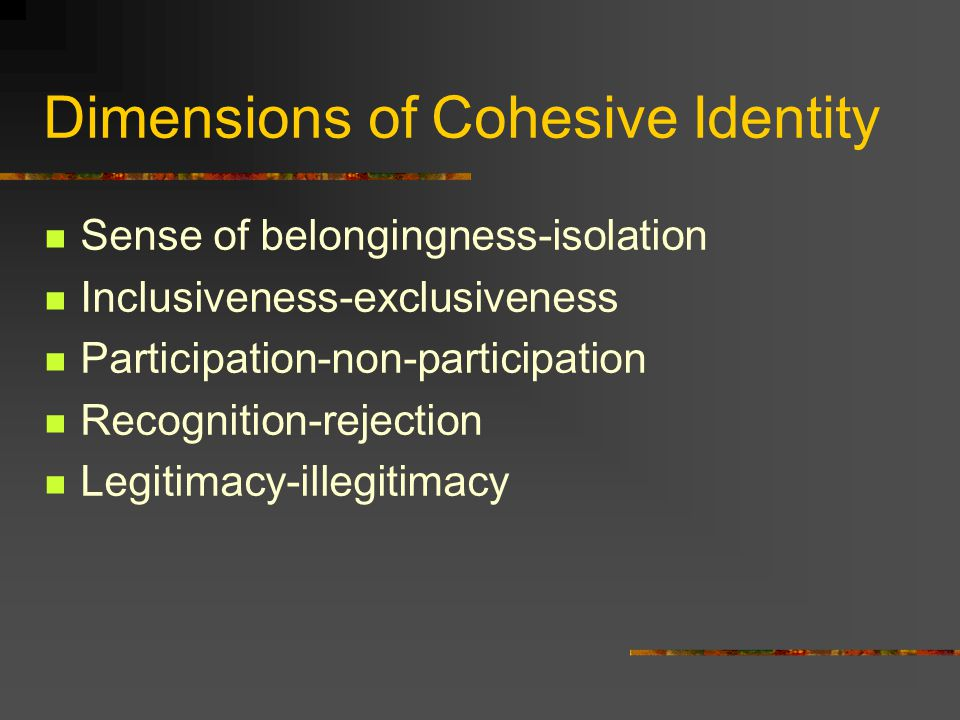 Dimensions of Cohesive Identity Sense of belongingness-isolation Inclusiveness-exclusiveness Participation-non-participation Recognition-rejection Leg