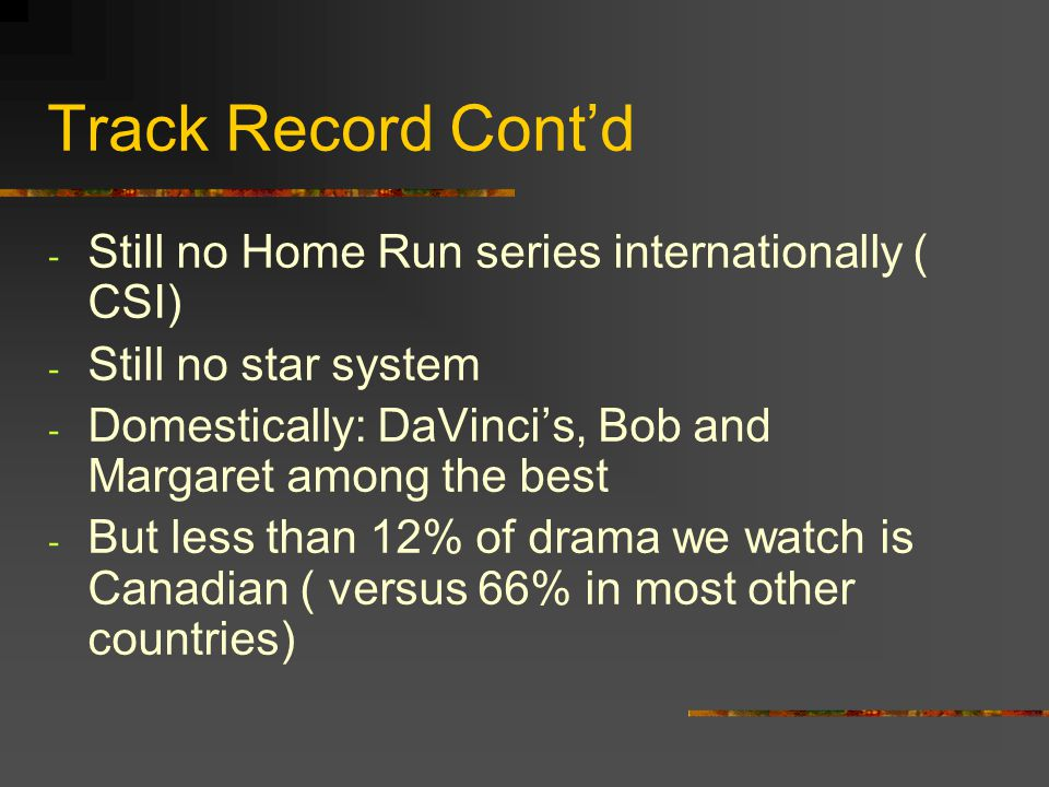 Track Record Contd - Still no Home Run series internationally ( CSI) - Still no star system - Domestically: DaVincis, Bob and Margaret among the best