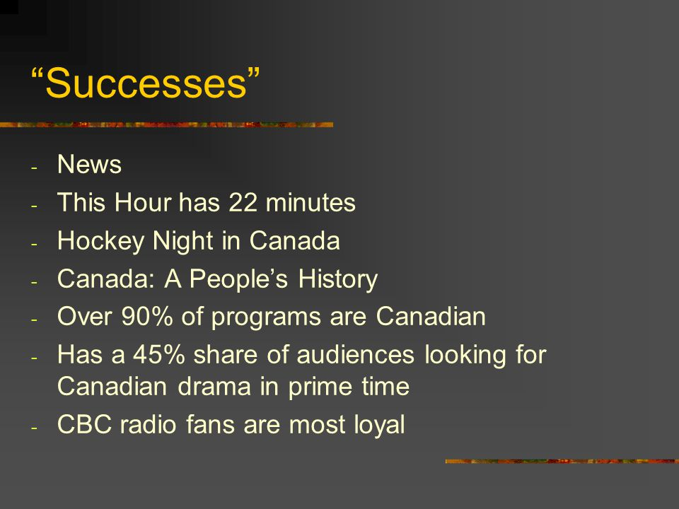 Successes - News - This Hour has 22 minutes - Hockey Night in Canada - Canada: A Peoples History - Over 90% of programs are Canadian - Has a 45% share