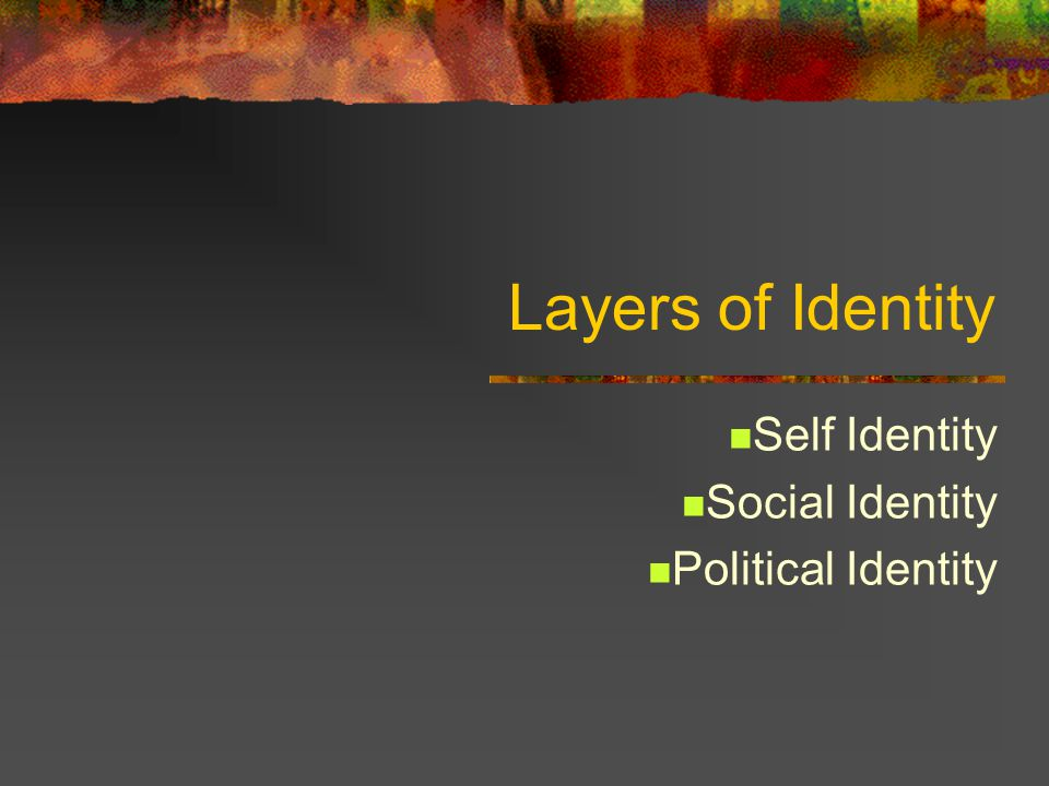 Layers of Identity Self Identity Social Identity Political Identity
