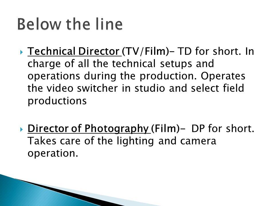 Technical Director (TV/Film)- TD for short.