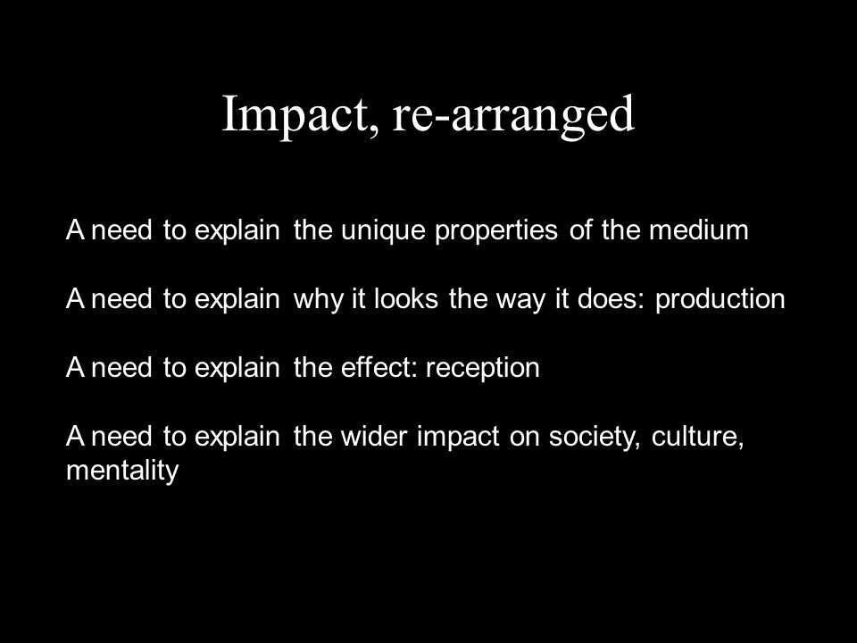 Impact, re-arranged A need to explain the unique properties of the medium A need to explain why it looks the way it does: production A need to explain the effect: reception A need to explain the wider impact on society, culture, mentality
