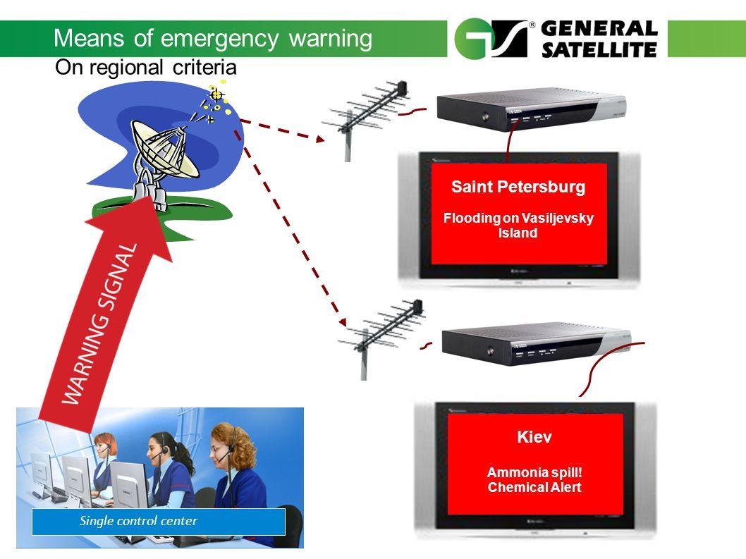 Means of emergency warning Single control center Saint Petersburg Flooding on Vasiljevsky Island On regional criteria Kiev Ammonia spill! Chemical Ale