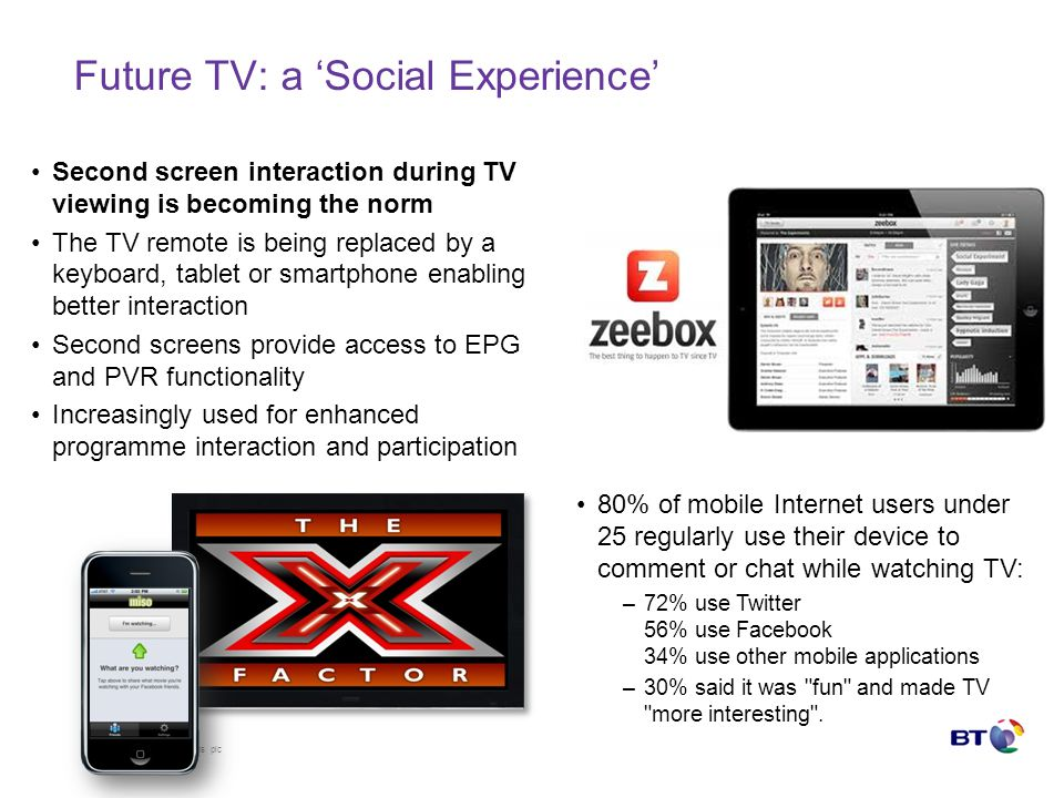 © British Telecommunications plc Future TV: a Social Experience Second screen interaction during TV viewing is becoming the norm The TV remote is being replaced by a keyboard, tablet or smartphone enabling better interaction Second screens provide access to EPG and PVR functionality Increasingly used for enhanced programme interaction and participation 80% of mobile Internet users under 25 regularly use their device to comment or chat while watching TV: –72% use Twitter 56% use Facebook 34% use other mobile applications –30% said it was fun and made TV more interesting .