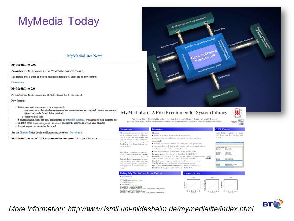 © British Telecommunications plc MyMedia Today More information: http://www.ismll.uni-hildesheim.de/mymedialite/index.html