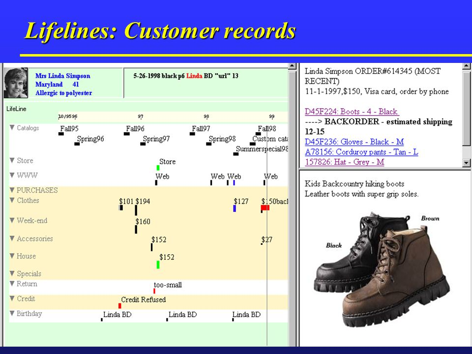 Lifelines: Customer records Temporal data visualization Medical patient histories Medical patient histories Customer relationship management Customer